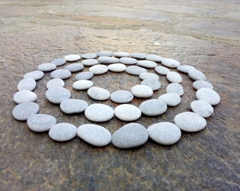 60 Small Flat Pebbles, Craft Pebbles, Beach Pebbles, Beach Stones, Smooth Pebbles, STONE BUTTONS, Small Round Pebbles, Tiny Pebbles