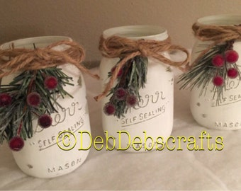 Rustic Christmas mason jar Christmas decorations Christmas centerpiece Home decor Christmas gifts Mantle decor Painted mason jars