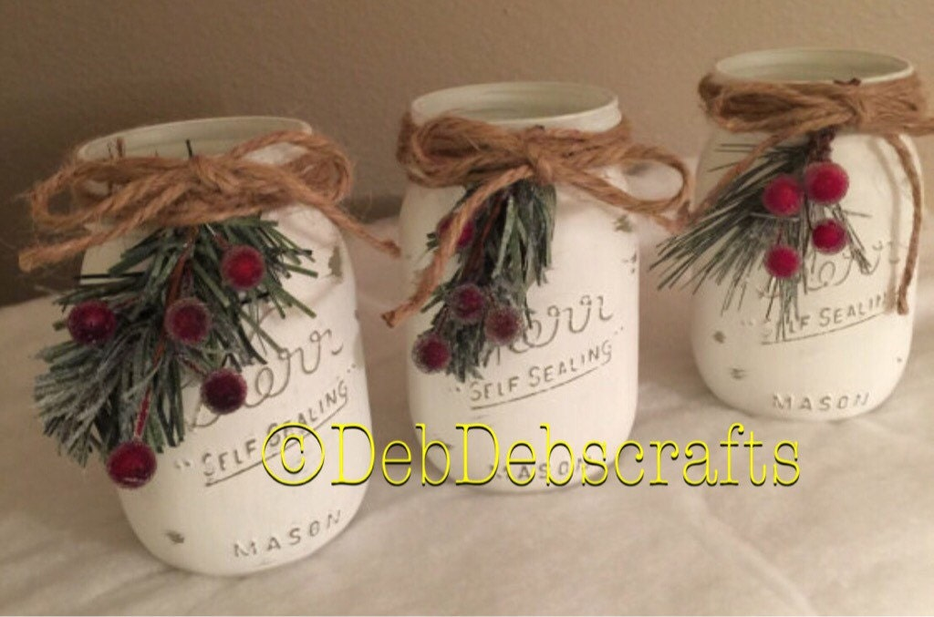 Rustic Christmas decor Christmas mason jars Home decor