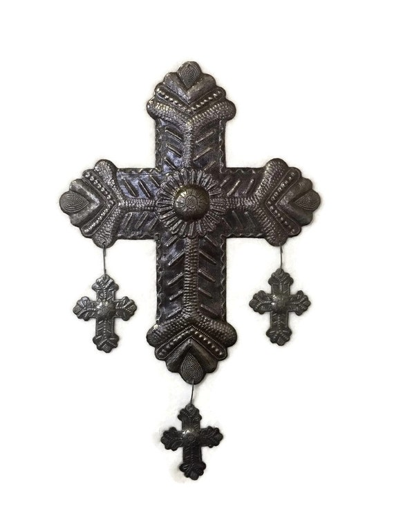 """Religious Home & Décor, Metal Cross with hanging Milagro Crosses, Detailed Hammering Work, Recycled Steel, Haitian Wall Art  13"""" x 20"""""""