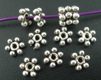 6MM Antique Silver Daisy Spacers Beads (50) MT1017