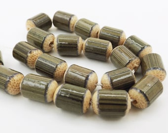 Bamboo Wood Barrel Beads Olive or Orange 10X7MM 10PCS Or11,12