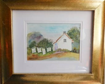 Original watercolor painting, country painting, country art