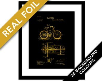 Bicycle Patent Illustration Gold Foil Art Print - Antique Bike Poster - Cyclist Gift - Cycling Wall Decor - Bicycle Drawing - Mechanical Art
