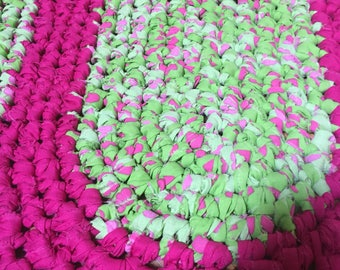 Crochet rag rug green and pink oval