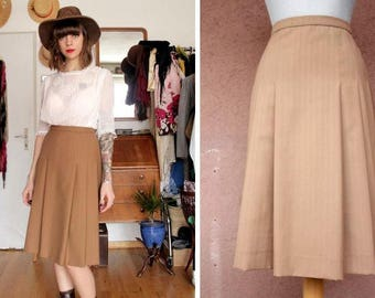 1940's / 1950's Camel Wool A-Line Skirt - 40's Midi Wool Pleated Skirt - Size M