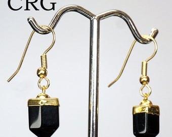 Gold Plated Polished BLACK ONYX Earrings EAR204