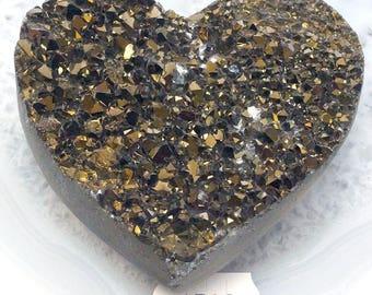 A-1539 Titanium Aura Quartz Crystal Heart 4.6 oz.