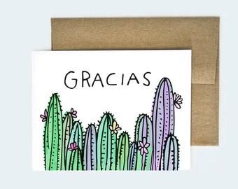 Thank You Card, Thank You, Gracias Card, Handmade Thank You Card, Thank You Cards, Cactus Card, Cactus Thank You Cards, Cactus Gracias