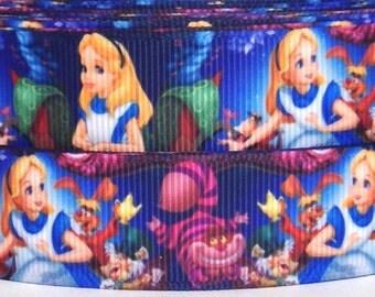 """Alice 1"""" Grosgrain Ribbon - Alice in Wonderland Ribbon-3 yards Alice Grosgrain Ribbon-7/8"""" Alice in Wonderland Ribbon-Alice Grosgrain Ribbon"""