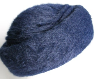 Navy Winter Hat by Kates Boutique, Brushed Knit Unlined Dark Blue