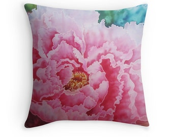 Peony - Cushion Cover  - Printed from original silk painting