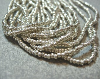 2x1.5mm Czech Silver Color Faceted Seed Beads  350pcs Per String 6 Strings Per Hank Sold by the Hank Great Value Exceptional Color(sku#1090)