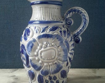 Westgermany vase blue, Scheurich vase with handles, boho home, granny chic, retro vase vase blue, WG 487-28, westgermany jug, retro vase flower