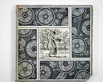 Antique 1880s T. & R. Boote Kate Greenaway Seasons Autumn tile. 4