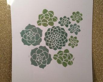 Succulent Original Linocut Art Print