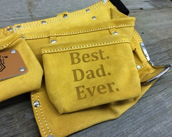 Fathers Day Gift for Dad- Best Dad Ever Personalized Custom Leather Tool Belt - Customize with ANY DESIGN!