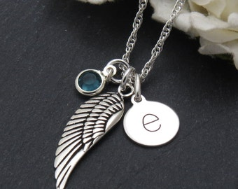 Personalized Angel Wing Necklace,  Birthstone Jewelry, Memorial gift, Sympathy Gift, Silver Angel Wing Necklace , Angel Wing Jewelry,
