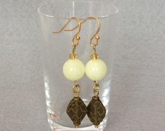 Beaded Yellow Earrings Yellow Dangle Earrings Drop Earrings Pale Yellow Stone Earrings Dangle Boho Earrings Womens Gift For Her Friend Gift