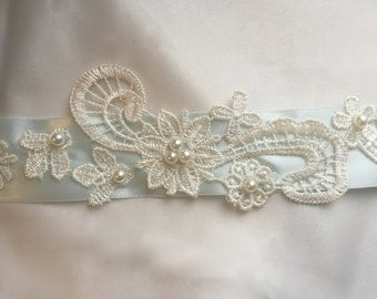 Light Blue Ribbon Bridal Belt with Flowery Lace Applique and Hand-sewn Pearls