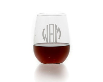 Personalized stemless wine glass // etched wine glass // custom wine glass // stemless wine glass // glass with monogram