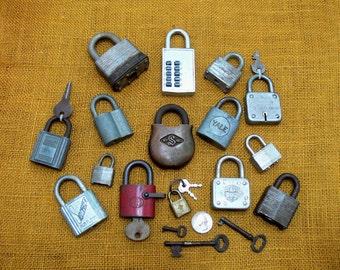 Antique lock lot-old lock collection-antique skeleton keys-vintage master lock-old slaymaker lock-vintage yale lock-old lock and keys lot
