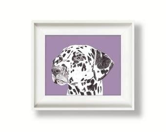 Dalmatian print - dog drawing - dog print - of an original pen drawing by Tracy Stone