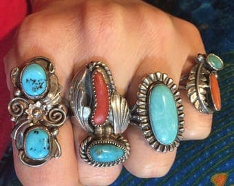 Vintage Southwestern Sterling Silver Turquoise Ring Signed R