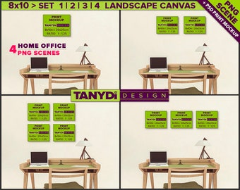 8x10 Landscape Canvas Photoshop Print Mockup C-OF2   4 PNG Scenes   Set of canvas on Home office wall   Wood desk
