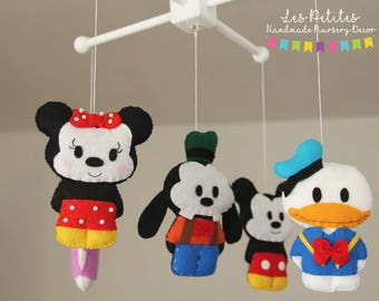 Disney baby shower, Felt Crib Mobile, Mickey Mouse Crib Mobile, Minnie,Daisy Duck,Donald Duck, Goofy