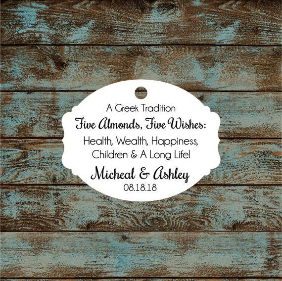 Greek Wedding Favor Tags, Jordan Almond Favor Tags, Sugared Almond Favor Tags, Five Wishes Poem Favor Tags #673 Qty: 30 Tags