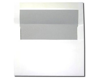 20 White with Light Gray Lined Envelopes A7 Size