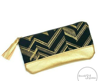 Black/gold makeup bag