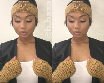 B.Bazaar 'COCO SZN' headwrap & fingerless glove set