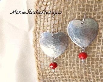 Hammered Silver Heart Earrings, Valentine Earrings, Heart Earrings, Silver Heart Earrings, Boho Earrings, Boho Jewelry