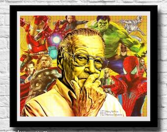 Stan Lee Comic Hero Digital Painting Print