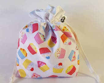 "Small Lined DRAWSTRING Bag, CUPCAKE, #73, 10""x7""x3"", project bag, storage bag"