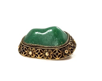 Antique Chinese Jade Brooch, Gold Vermeil, Silver Filigree, 1920's Art Deco, Carved Jade Pin, Antique Chinese Jewelry, Chinese Export