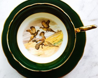 Regency China Dark Green Pheasant Scene Tea Cup and Saucer