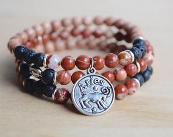 Aries Bracelet / Zodiac Bracelet / Astrology Bracelet / Stackable Bracelet Set / Diffuser Bracelet Stack / Red Jasper Bracelet / Zodiac Sign