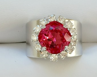 Indian Pink and Clear Crystal Ring