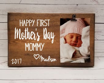 First Mothers Day Picture Frame gift! Gift for mom, photo board, clip, gift for wife, mother, mommy, grandma, nana, memaw, mimi, mama  7x12