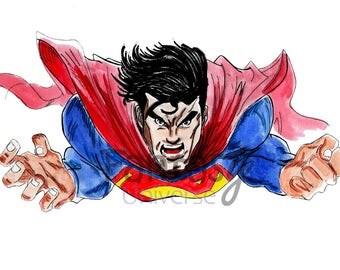 Superman, pittura acrilica su carta telata