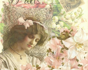 Lady Floral Lace Victorian French Ephemera Vintage Original Printable Digital Collage Altered Art Scrapbook Page Vintage Instant Downl