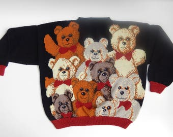 Hand knitted sweater with bears, size EU 42/44 (USA 12/14, UK 14/16), cotton