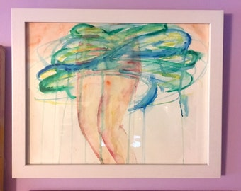 Contemporary Watercolor Painting - Original FRAMED