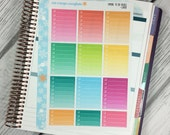 Ombre To Do Boxes LINED Stickers! 1 punched sheet, for your Erin Condren Life Planner, Plum Planner,  Filoflax, calendar