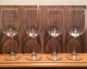 Austin Glasses - Austin Wine Glasses - Austin, TX Glasses - Austin Wine - Austin - Texas  - AUS  - Longhorn - University of Texas