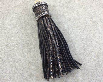 """3.25"""" Rhinestone Capped Black/Bronze Snakeskin Printed Faux Leather Tassel with Gold Ring - Measuring 18mm x 85mm - Sold Individually"""