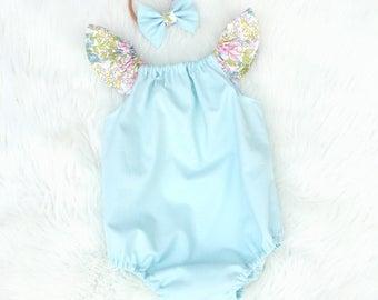 Light blue, spring, floral romper
